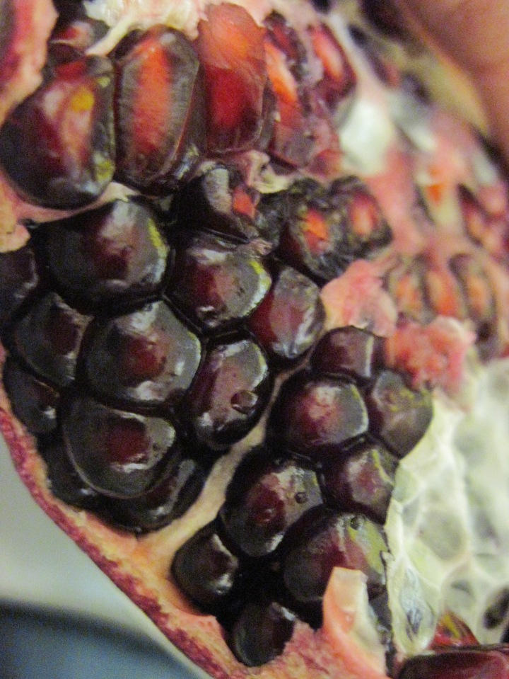 Then I started preparing some pomegranates - this one was a goldmine!